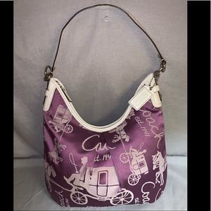 Coach Signature Stagecoach Hobo Bag Purple&Wht EUC